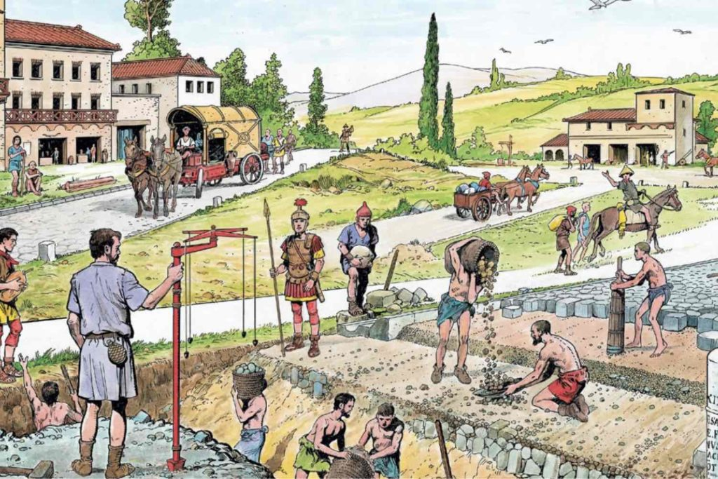 Roman engineers building a road