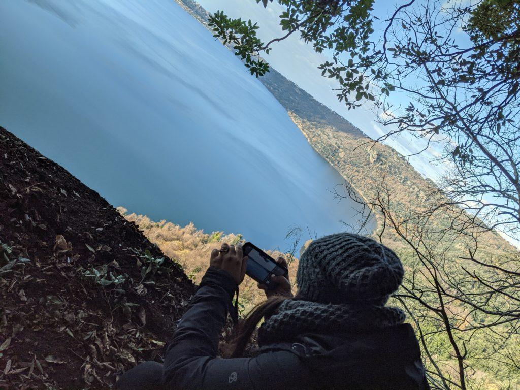 A panoramic view of lake Albano